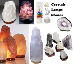 Lamps, Crystals, Stones, Inspirational Banners, etc.