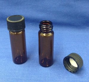 1 dram amber bottle glass with cap