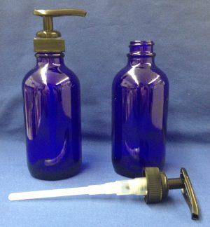 Bottle Blue Glass w Pump - 120 ml