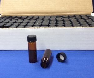 1 dram Amber Glass Vial with cap Case 144