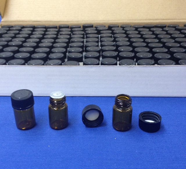 1/2 dram Amber Glass Vial with cap Case 144
