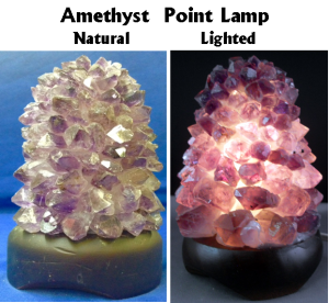 Lamp Amethyst Lotus on wood base