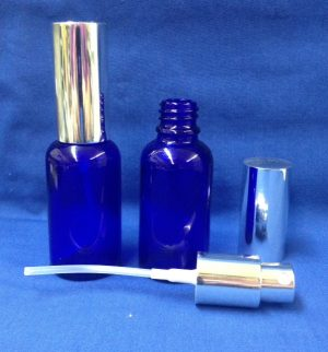 30 ml Blue Glass Bottle with spray silver