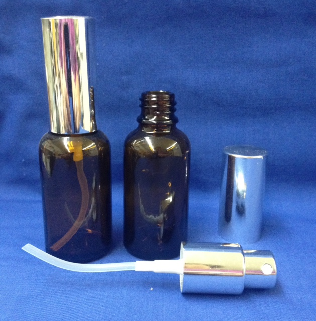 30 ml Amber Glass Bottle with spray silver