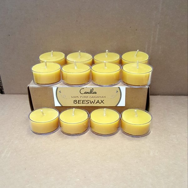 beeswax tealights 12 in cup